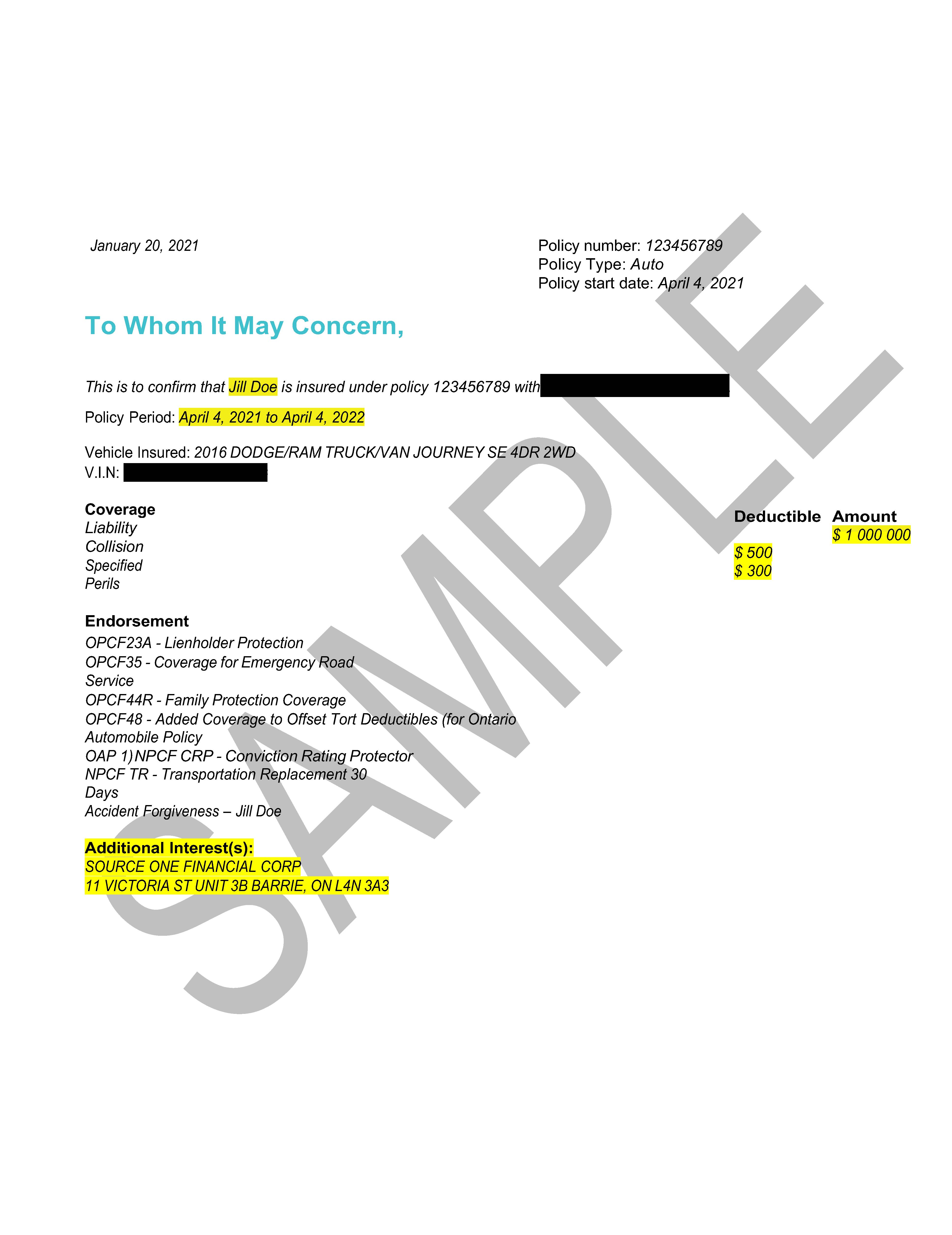 Sample insurance document